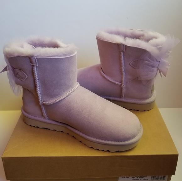 4d2962412e UGG Tulle Mini Bailey Bow Purple Sheepskin Boots